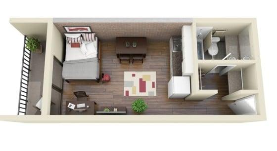 Plano apartamento muy pequeño de un dormitorio