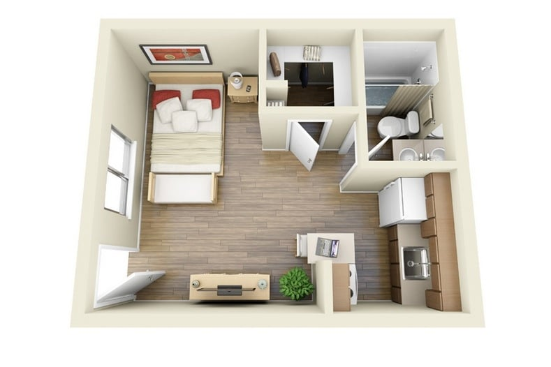planos de apartamentos peque os de un dormitorio dise os construye hogar. Black Bedroom Furniture Sets. Home Design Ideas