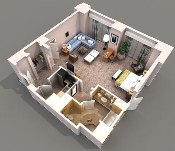 Plano de apartamento cuadrado de lujo