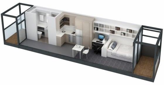 Plano de apartamento pequeño alargado de un dormitorio