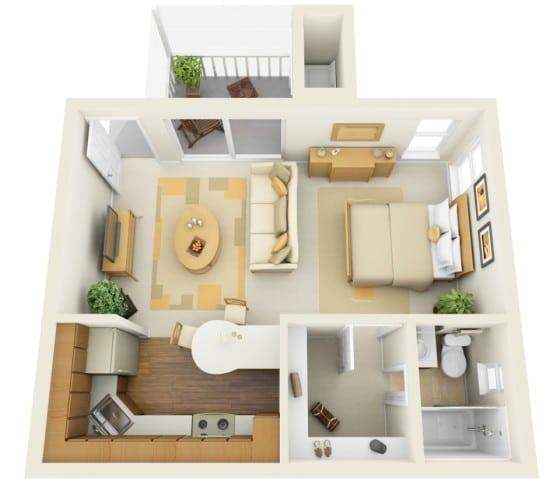 Plano de pequeño apartamento de un dormitorio