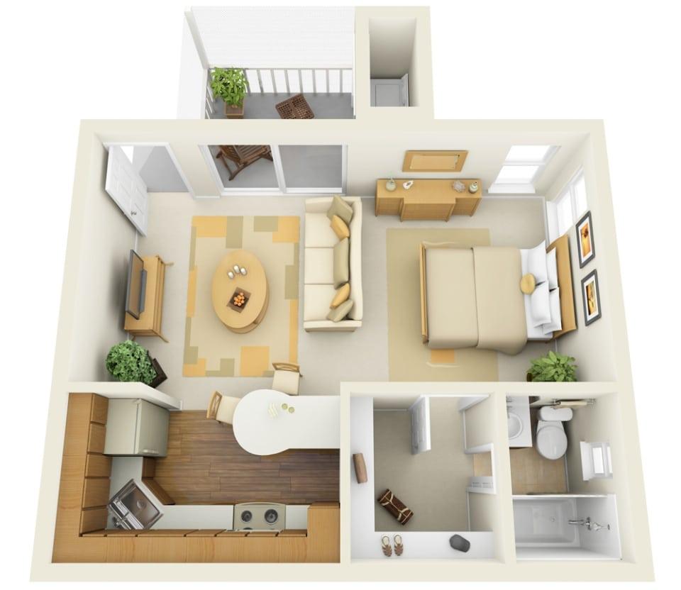 Planos De Apartamentos Peque Os De Un Dormitorio Dise Os
