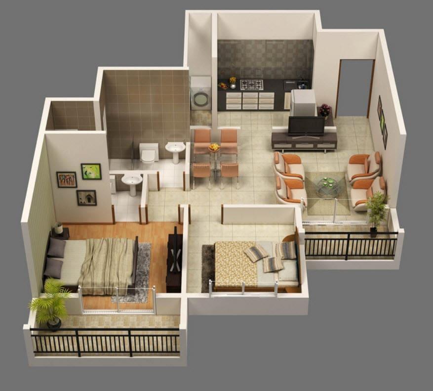 Planos de apartamentos en 3d dise os modernos construye for Departamentos pequenos planos