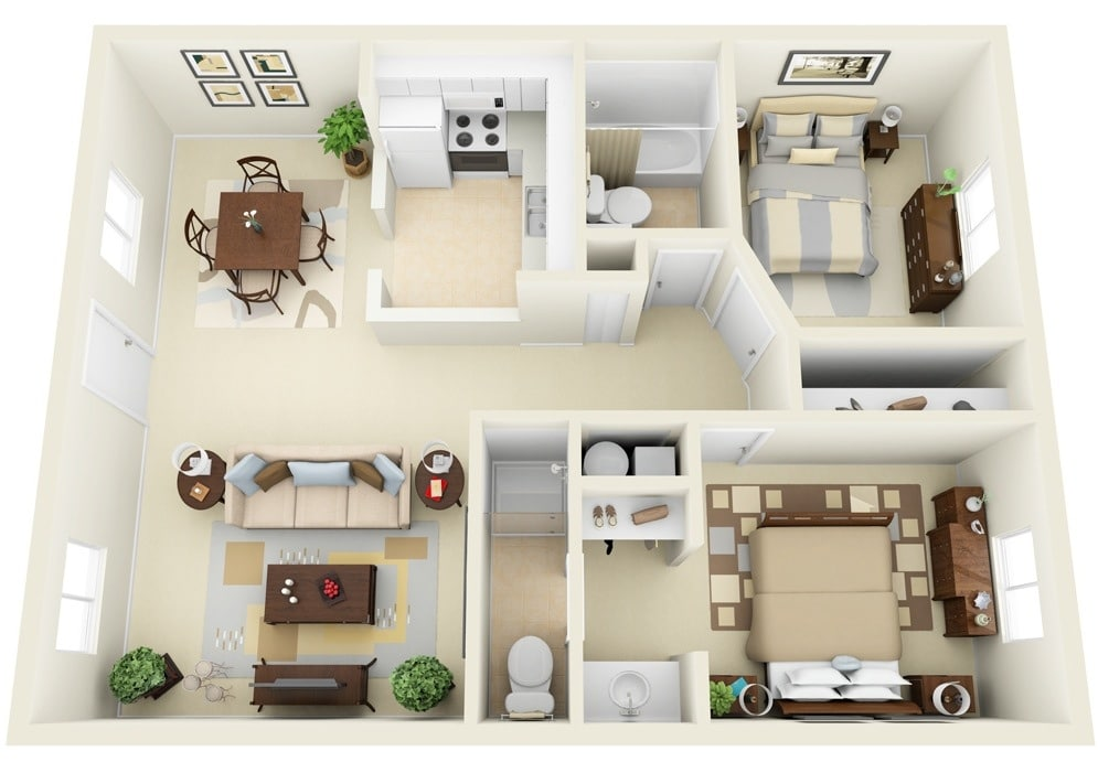 Baños Residenciales Modernos:3D Two Bedroom House Plans
