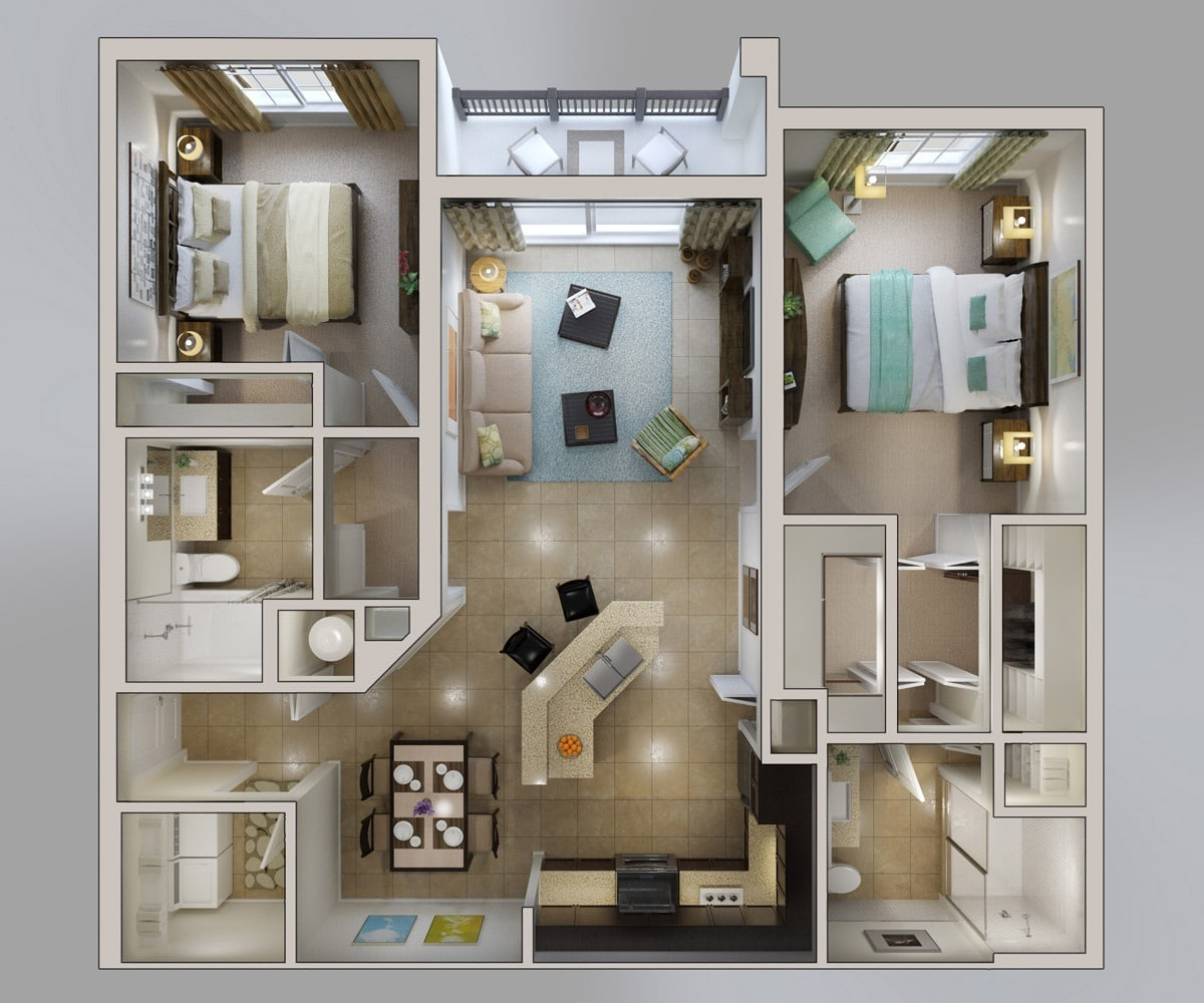 Planos de apartamentos en 3d dise os modernos construye for Two bedroom apartment ideas