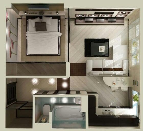 Plano de apartamento pequeño cuadrado