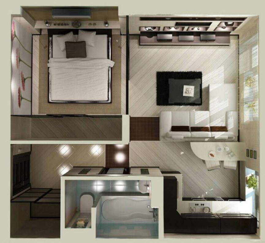 Planos de apartamentos peque os de un dormitorio dise os for Diseno de interiores apartamentos pequenos