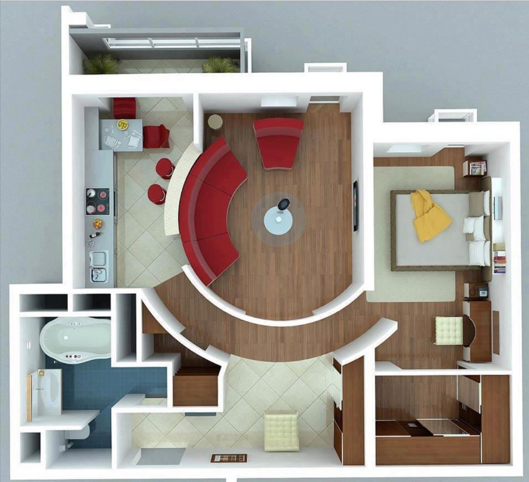 Planos de apartamentos peque os de un dormitorio dise os for Disenos de departamentos pequenos modernos