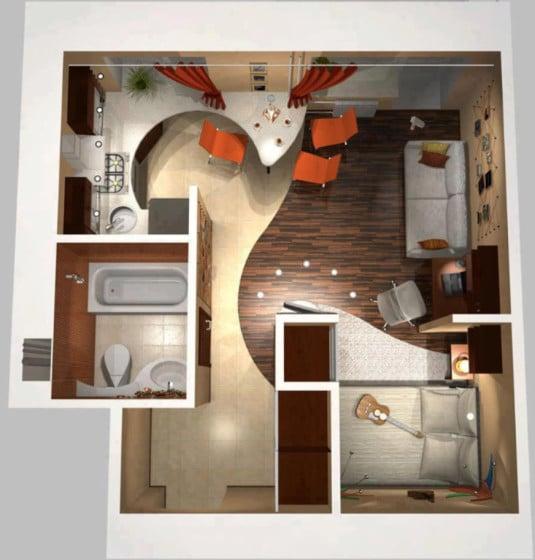 Plano de apartamento muy pequeño moderno