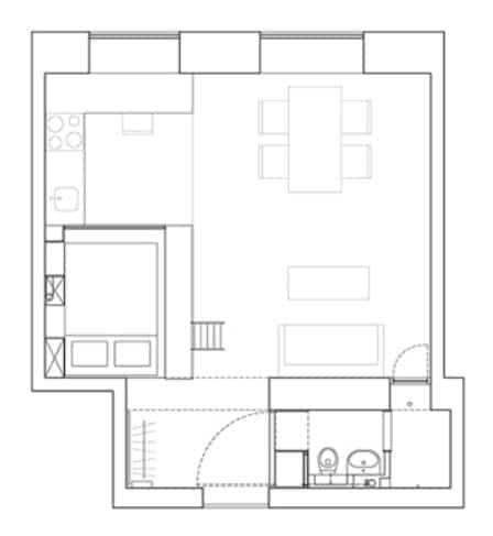 Plano de apartamento pequeño con un dormitorio, cocina y sala