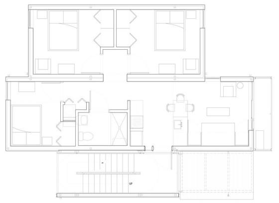 Plano de casa modular que se apila fácil