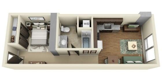 Plano de departamento de un dormitorio alargado