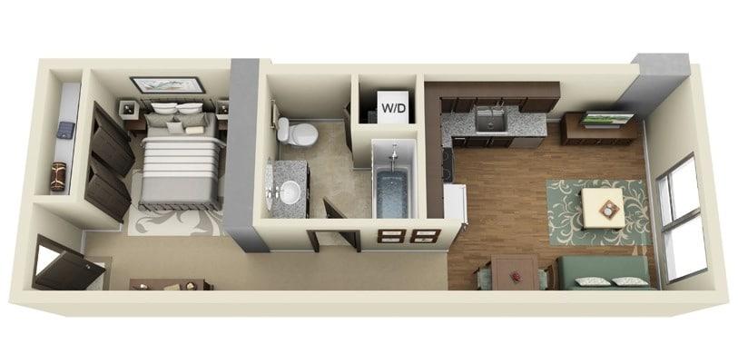 Planos de apartamentos peque os de un dormitorio dise os for Distribucion apartamentos pequenos