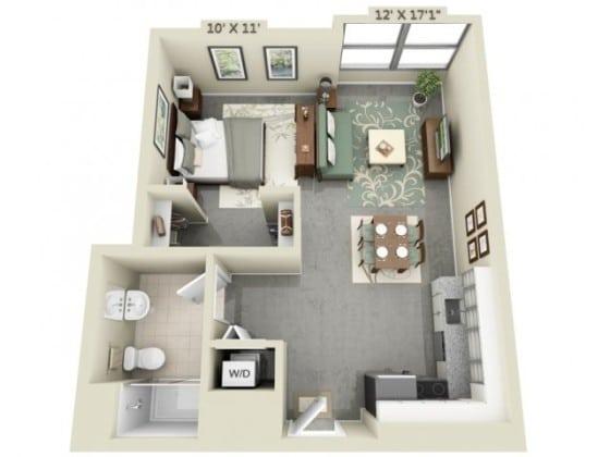 Plano de departamento de un dormitorio y cocina