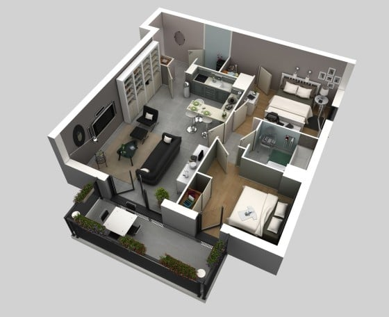 Plano de departamento pequeño en 3D con terraza