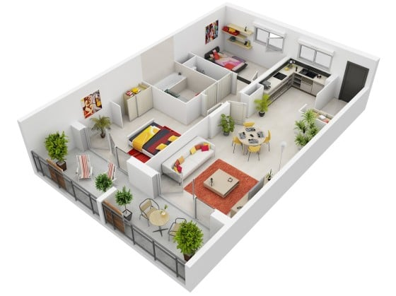 Plano de departamento en 3D de forma alargada