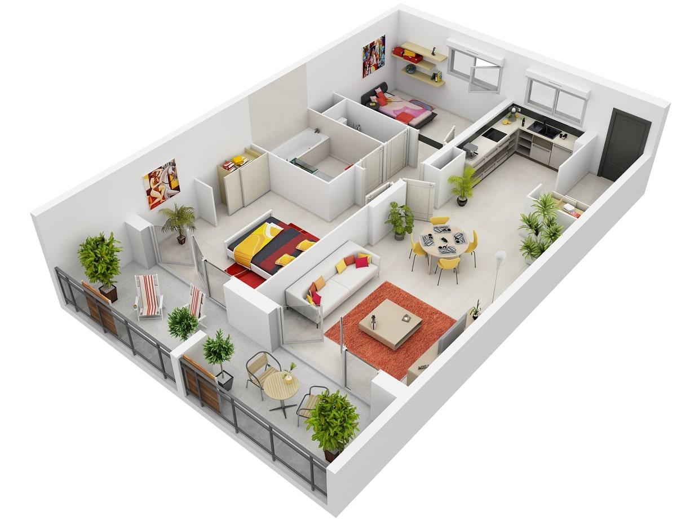 Planos de apartamentos en 3d dise os modernos construye for Departamentos minimalistas planos