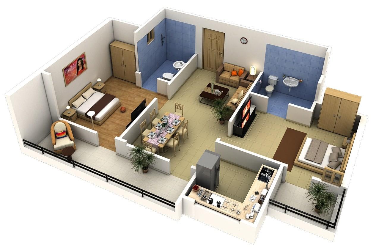 Baños Residenciales Modernos:2 Bedroom Apartment Floor Plans 3D