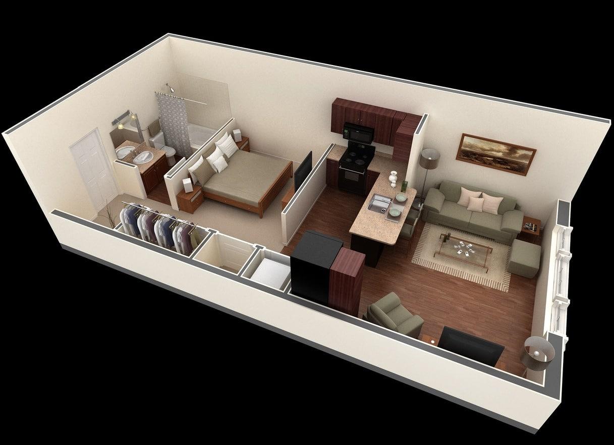 Planos de apartamentos peque os de un dormitorio dise os for Bo architecture 4 1