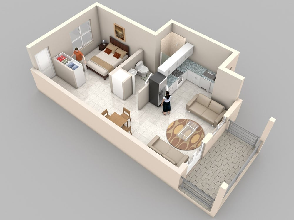Planos de apartamentos peque os de un dormitorio dise os for Turn floor plan into 3d model