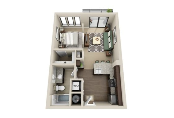 Plano de departamento pequeño con kitchenet