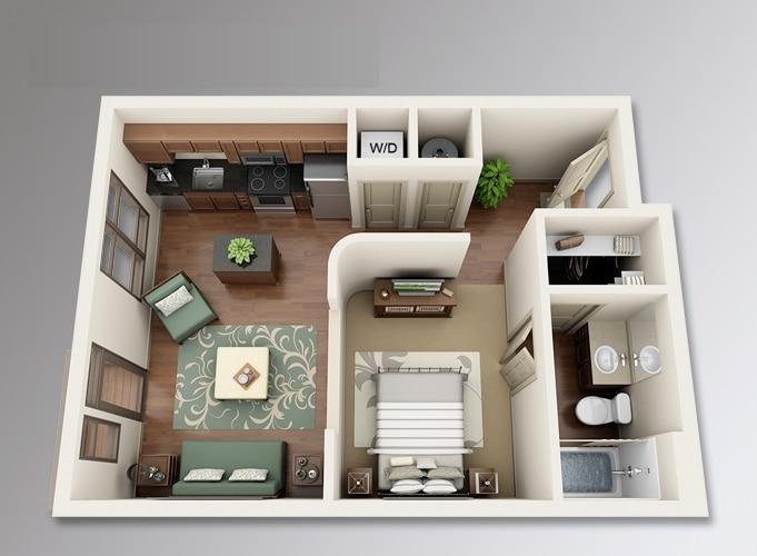 Planos de apartamentos peque os de un dormitorio dise os for Cocina para departamento pequeno