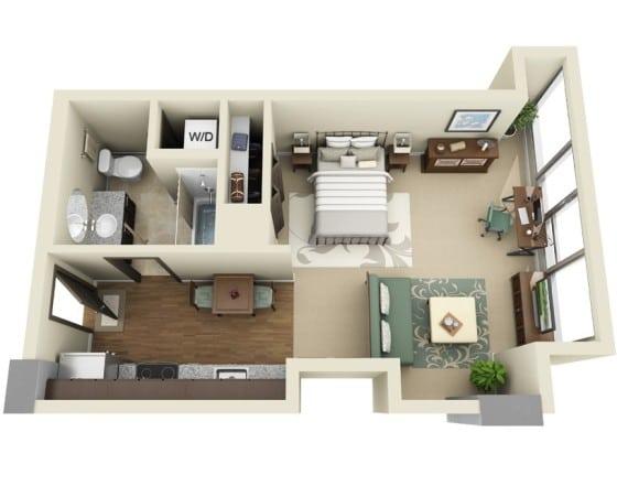 Plano de departamento pequeño de un dormitorio  con ingreso por cocina