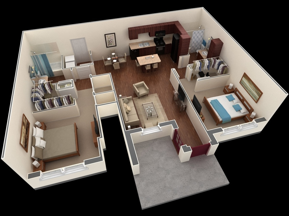 Planos de apartamentos en 3d dise os modernos construye for Building plan for two bedroom flat