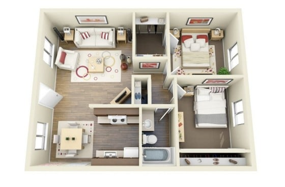Plano de pequeño departamento de forma cuadrada