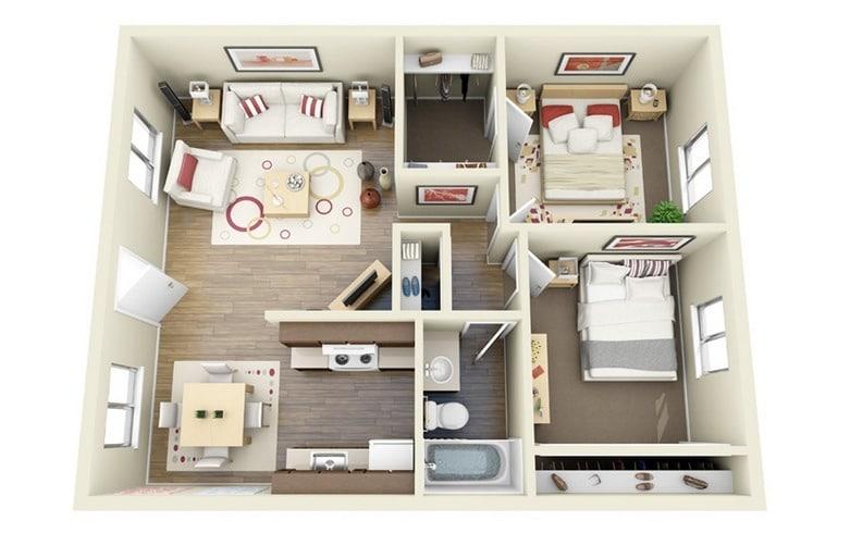 planos de apartamentos en 3d dise 241 os modernos construye simple small house floor plans small house floor plans 2
