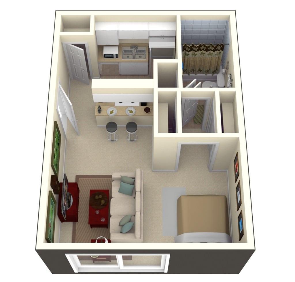 Planos de apartamentos peque os de un dormitorio dise os - Mini apartamentos ...