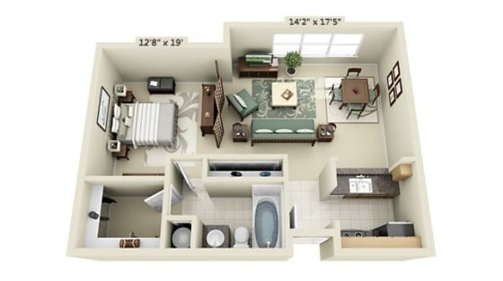 Plano de mini departamento de un dormitorio