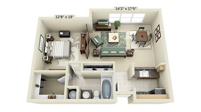 Planos de apartamentos peque os de un dormitorio dise os for Decoracion para minidepartamentos