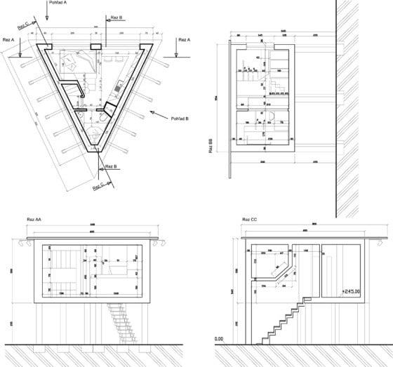 Planos de corte de casa triangular