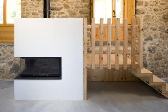 Calentador de casa rural de piedra