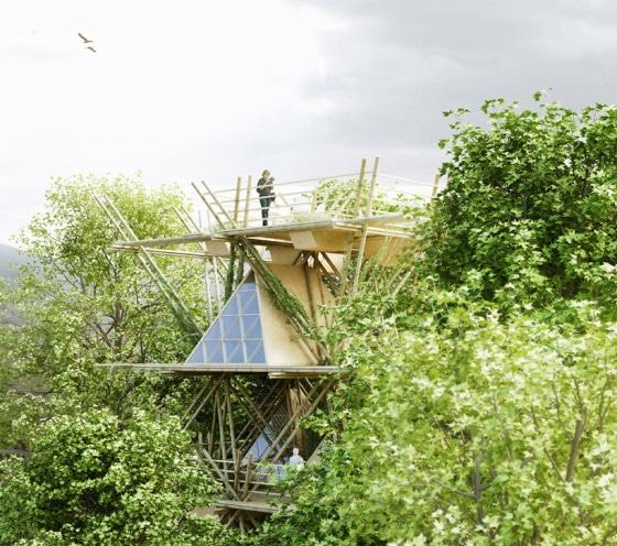 Casa ecológica de bambú de varios pisos