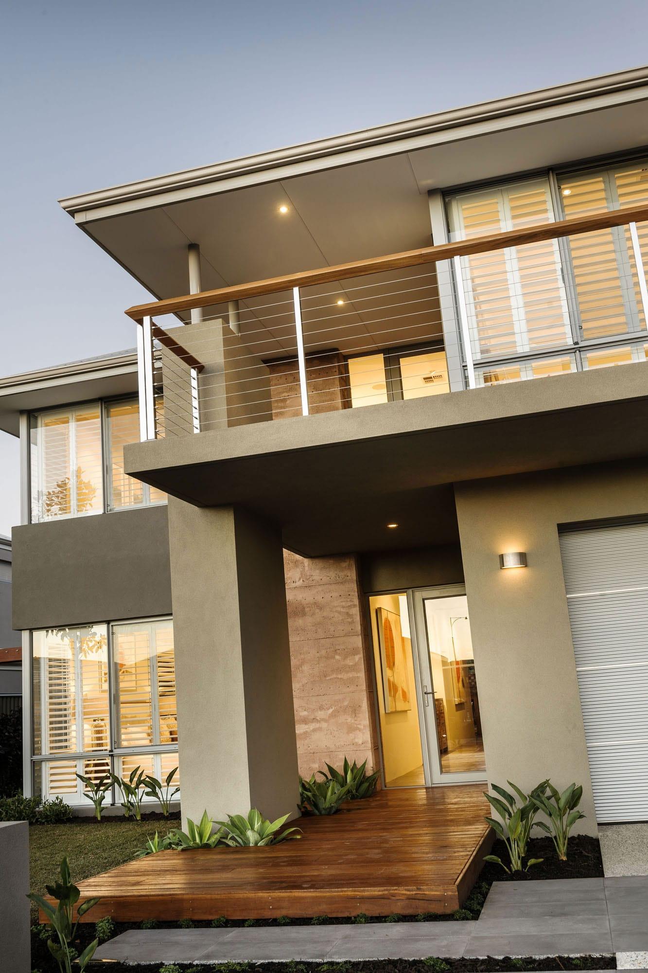 Dise o de casa moderna de dos pisos fachada e interiores for Pisos elegantes para casas