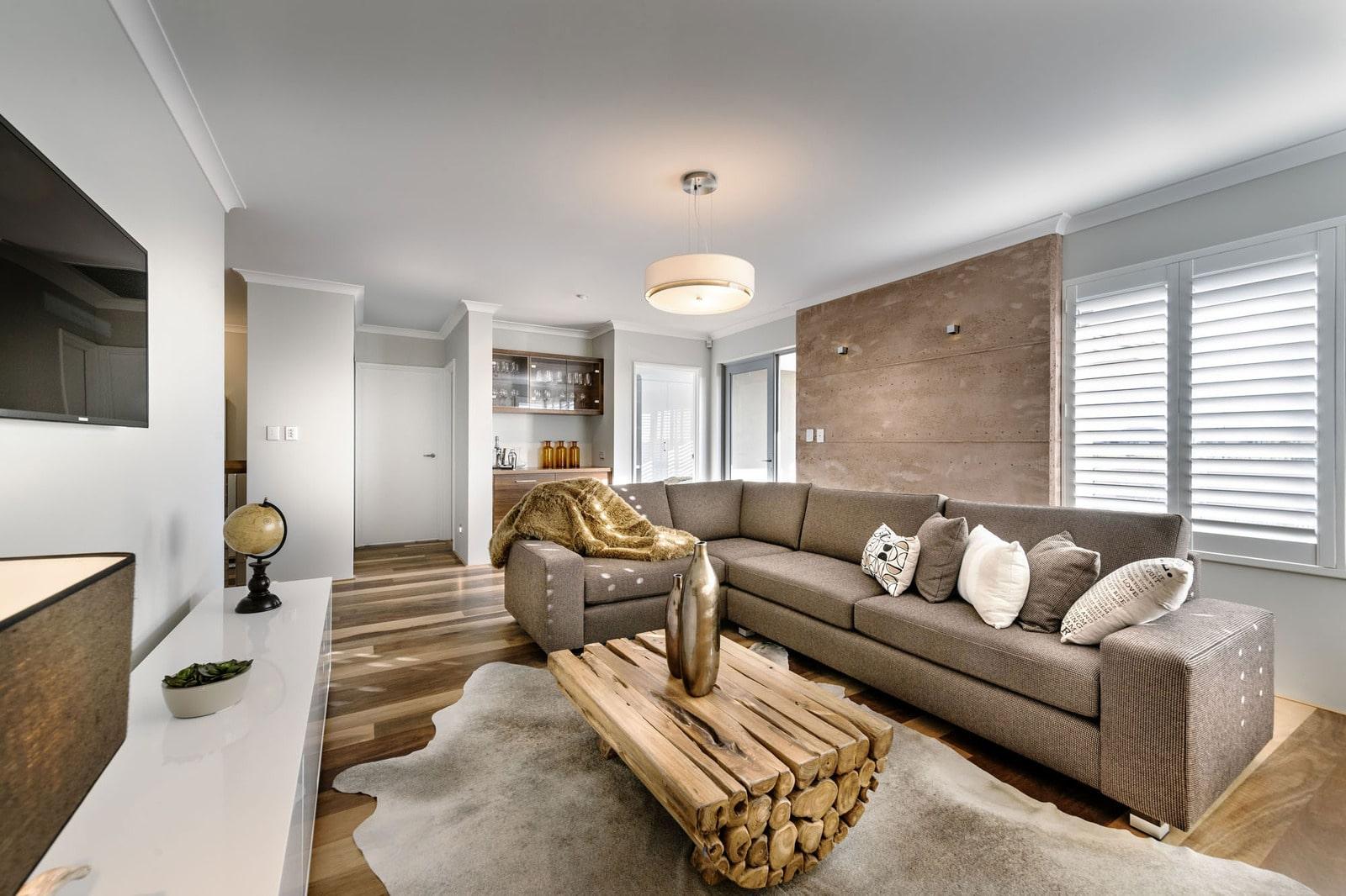 Dise o de casa moderna de dos pisos fachada e interiores construye hogar for Decoracion para living