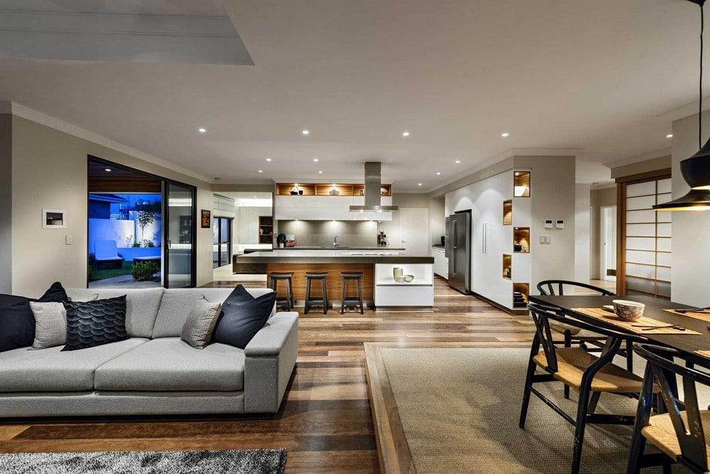 Dise o de casa de un piso estilo oriental con planos for Decoracion de sala comedor y cocina