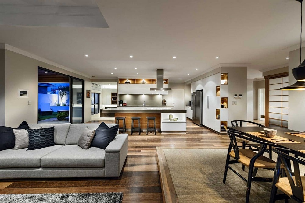 Dise o de casa de un piso estilo oriental con planos for Pisos para living y cocina