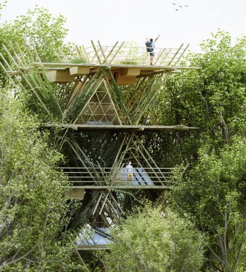 Diseño de casa de bambú vertical