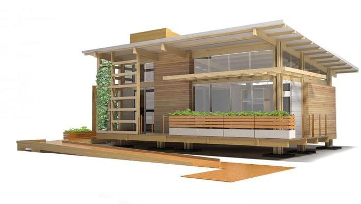 Dise o de casa peque a de madera autosustentable - Disenos casas de madera ...