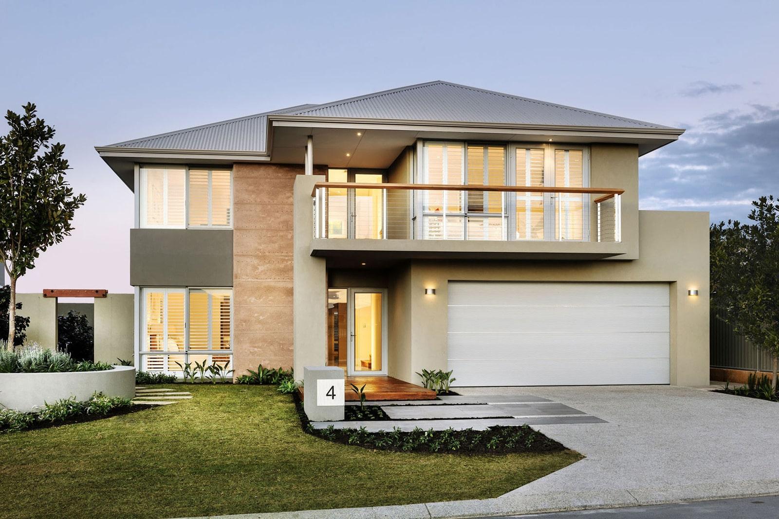 Casa Moderna De Dos Pisos Con Hermoso Diseo Fachada E Interiores