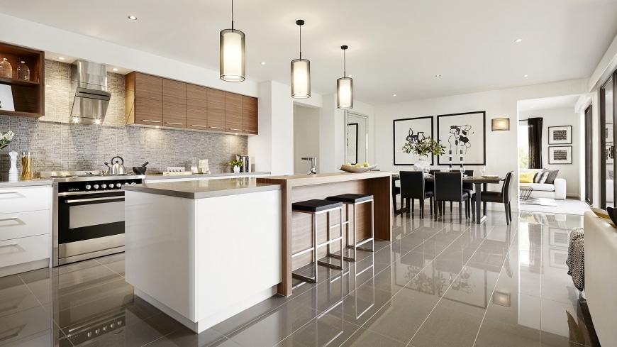 Casa de un piso moderna dos fachadas y dise o interior for Cocina comedor con isla