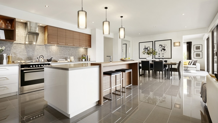 Casa de un piso moderna dos fachadas y dise o interior for Planos de cocina y comedor
