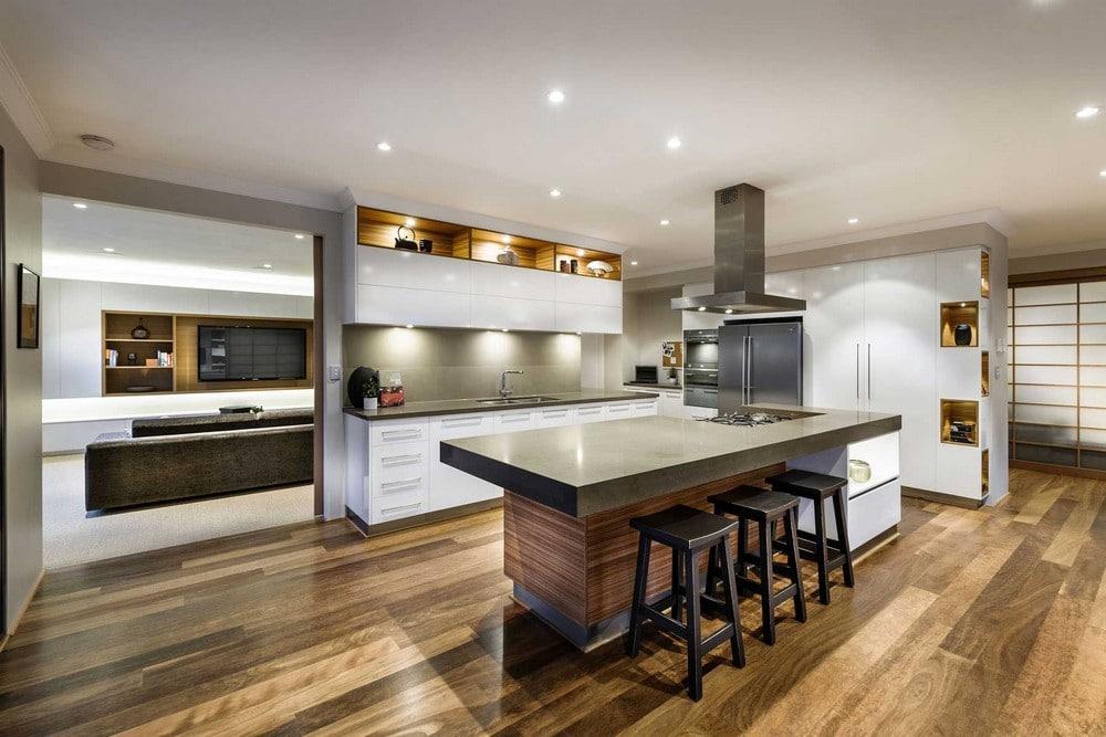 Dise o de casa de un piso estilo oriental con planos for Diseno de cocinas modernas con isla