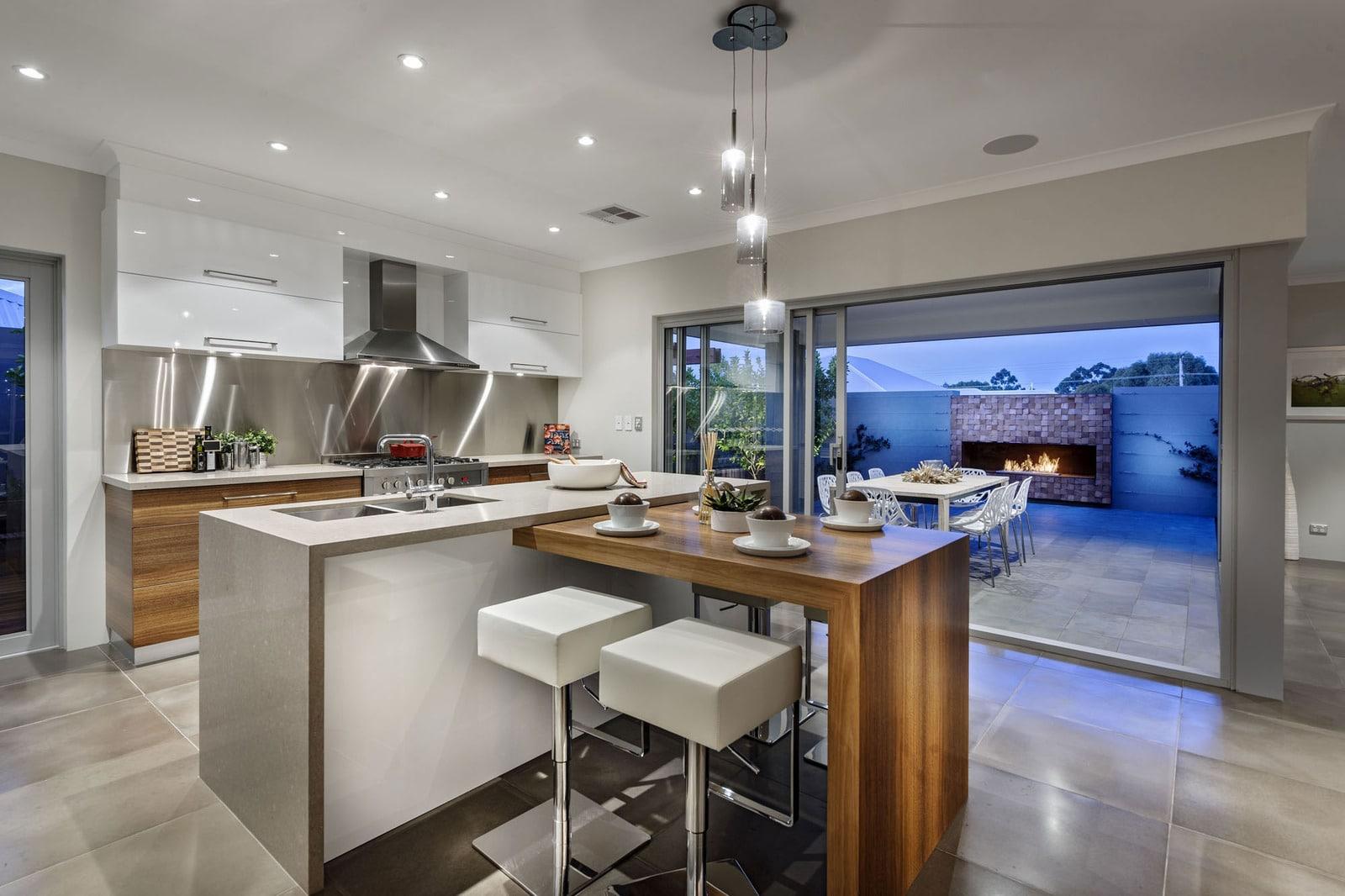 Dise o de casa moderna de dos pisos fachada e interiores for Cocinas modernas apartamentos