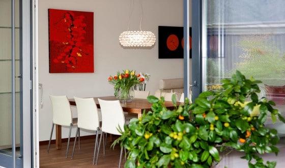 Diseño de comedor con sillas blancas de apartamento