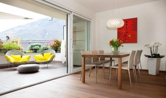 Diseño de comedor y terraza de apartamento