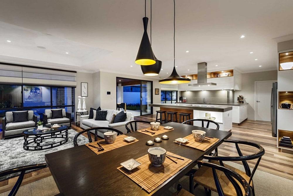 Dise o de casa de un piso estilo oriental con planos construye hogar - Different design of sitting room with dining ...